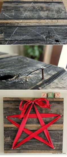15-Minute Ribbon Star-insanely easy DIY decor. just swap the ribbon color depending on the holiday/season!