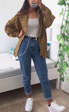 Skater Girl Outfits, Hipster Outfits, Indie Outfits, Fall Fashion Outfits, Edgy Outfits, Cute Casual Outfits, Fashion Clothes, Flannel Outfits, Denim Fashion