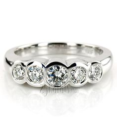 Chic and fashionable! This sparkling bezel set diamond wedding ring is set with 5 round cut diamonds totaling ct. This five stone diamond wedding band is Diamond Anniversary Bands, Wedding Anniversary Rings, Diamond Bands, Diamond Wedding Rings, Wedding Bands, Gold Wedding, Silver Jewellery Indian, Silver Jewelry, 925 Silver