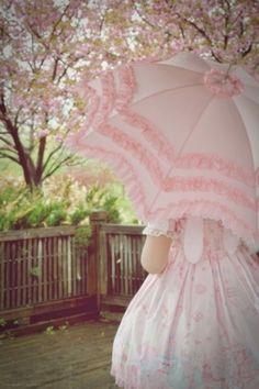 pretty frilly pink umbrella