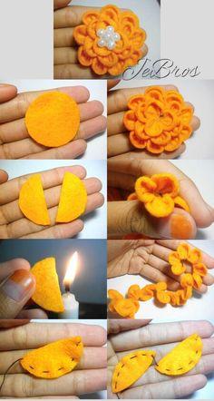 The steps to make Jasmine flower from felt