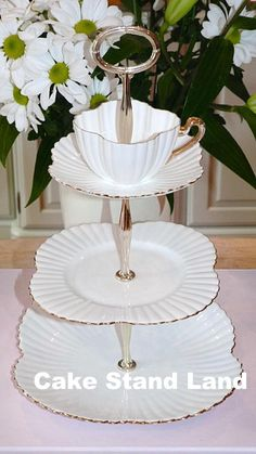 tea cup vintage | white tea cup topped vintage cake stand pure white bone china tea cup ...