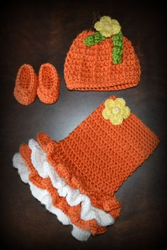 Crochet Pumpkin Costume Baby Tutu Dress with Matching Hat and Slipper shoes Photo Prop Custom Made Girl Costume