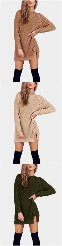 Coffee Lace Up Details Long Sleeves Mini Sweater Dresses