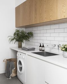 The Laundry — A Cantilever Approach — Kitchen Renovation & Custom Kitchen Designs Laundry Decor, Laundry Room Design, Laundry In Bathroom, Laundry Basket, Laundry In Kitchen, Laundry Nook, Laundry Storage, Wall Storage, Home Interior