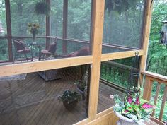 "How to screen in a deck. Can use these instructions to build a ""screened-in"" garden house."