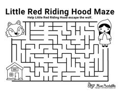 Free Printable Little Red Riding Hood Maze Preschool Activities At Home, Fairy Tale Activities, Mazes For Kids Printable, Free Printable, Red Riding Hood Story, Little Red Hood, Learn Greek, Activity Sheets For Kids, First Grade Lessons