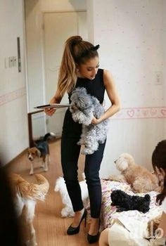 ♕ Awww, Ariana Grande and a herd of puppies!!
