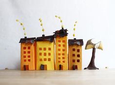 Set of eight felt houses in pastel colors Housewarming by Intres