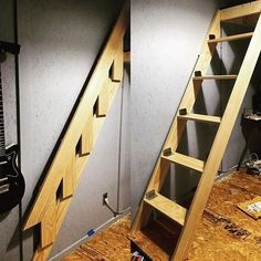 I've been doing some layout changes at lately most notably adding a loft bed. More to come on that later. But today I built this folding ladder! It's my take on something I found months ago Tiny House Stairs, Loft Stairs, Attic House, Basement Stairs, Attic Renovation, Attic Remodel, Retractable Stairs, Folding Ladder, Stair Ladder
