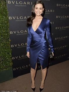 Taking the plunge: Emmy Rossum, 27, attended the Decades of Glamour event presented by BVLGARI in West Hollywood on Tuesday evening
