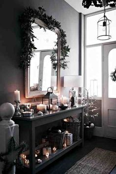 Perfect Modern Country Style: The Best Paint Colours For Small Hallways Click through for details. The post Modern Country Style: The Best Paint Colours For Small Hallways Click through fo… . Vestibule, Country Christmas, Christmas Home, Dark Christmas, Xmas, Country Hallway, Christmas Hallway, Best Paint Colors, Paint Colours