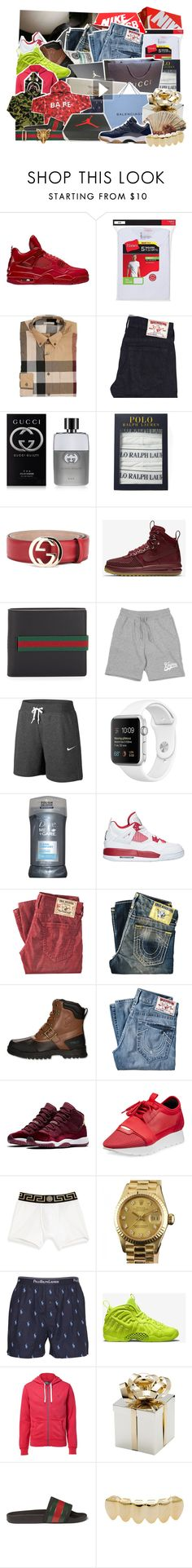 """""""im late but merry christmas ."""" by d-ocumentary ❤ liked on Polyvore featuring Hanes, Burberry, True Religion, Gucci, NIKE, Dove, Balenciaga, Versace, Rolex and Polo Ralph Lauren"""