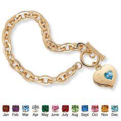"Sim. Birthstone Charm Bracelet 14k Gold-Plated 7 1/2"""