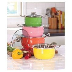 8 Pc Colorful Cookware Set Clear Glass Vented Lid Carrying Handle Kitchen Stainless Steel Pots -- Want to know more, visit