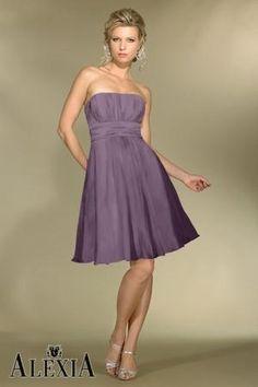 Chiffon Gathered,Strapless Style C972 Bridesmaid Dress by Alexia Designs