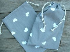 Cotton Drawstring Bag / Gift Bag / Shoe Bag; Middle Size Bag made of Gray & White Cotton Fabric with Heart Print; Heart Fabric Lingerie Bag