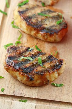 Tender and flavorful grilled pork chops with honey mustard glaze. A quick and easy pork chop recipe packed with savory spices that your guests will love! Easy Pork Chop Recipes, Grilling Recipes, Pork Recipes, Paleo Recipes, Cooking Recipes, Vegetarian Grilling, Healthy Grilling, Barbecue Recipes, Meat Recipes