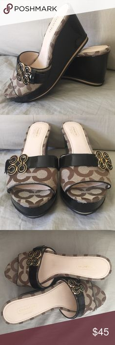 Clean Coach! Fun wedges, like new, super clean with a solid brown 3 1/4' heel and 1 1/4' wedge. Slip on an go because they match everything. Size 5 1/2B. Coach Shoes