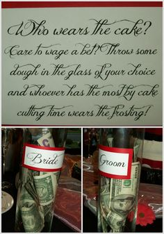 This is a great idea! although I have a feeling I would be the one to wear the cake. I might have to throw some of my own money in the grooms jar lol