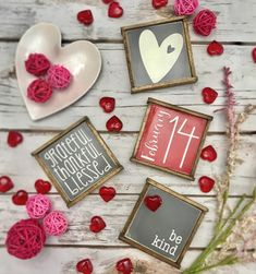 Rustic Valentines day gift farmhouse style mini sign set of 4 image 0 Dekorationen Bauernhaus Mantel Rustic Valentines day gift farmhouse style mini sign set of wooden sign, tiered tray, coffee bar, Have Courage And Be Kind, Mantel Shelf, Mini, Youre My Person, Thankful And Blessed, Valentine Day Gifts, Valentine Ideas, Wooden Signs, Special Day