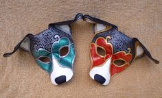 I just finished these two Venetian-style hound masks. The jade one is a special custom mask, the red is for fun. Two Venetian Hound Masks Dog Mask, Venetian Masks, Venetian Masquerade, Leather Mask, Beautiful Mask, Animal Masks, Character Design Inspiration, Character Ideas, Steampunk Diy
