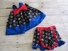 Red, White and Blue stars girls outfit for 4th of July with big bow by MyCutiePatootieShop on Etsy