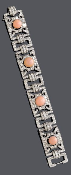 AN ART DECO PLATINUM, CONCH PEARL AND DIAMOND BRACELET, CIRCA 1930. #ArtDeco