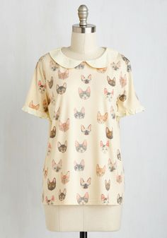 Oohs and Paws Top - White, Print with Animals, Print, Peter Pan Collar, Casual, Quirky, Cats, Critters, Short Sleeves, Better, Collared, Mid-length, Jersey, Knit