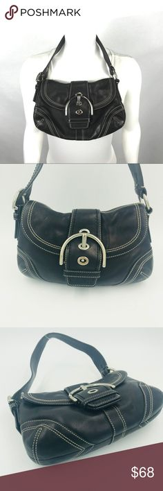"2e075be81a2a Auth Coach small 10"" x 7"" black leather flap Hobo Excellent condition. This"
