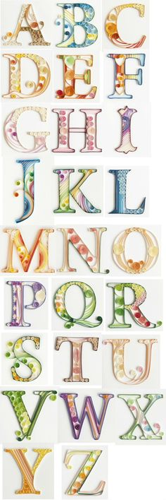 Quilled paper alphabet by QuillingCard(Diy Paper Origami) Arte Quilling, Quilling Letters, Paper Quilling Patterns, Origami And Quilling, Quilled Paper Art, Quilling Paper Craft, Diy Paper, Paper Crafts, Quilling Comb