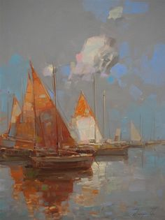 "Saatchi Art Artist Vahe Yeremyan; Painting, ""Sail Boats, Seascape oil painting…"