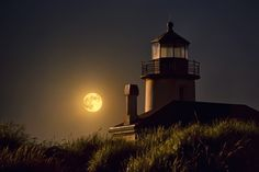 This image was taken on the evening of the Fourth of July, 2012, during the fireworks display in Bandon, Oregon. The golden glow of the fireworks, plus the light of a full moon, warmly lit up the non-functioning lighthouse. The Lighthouse is situatied in Bullards Bay State Park  http://www.ronsouthworth.com/detail_coquille_river_lighthouse-golden.htm#
