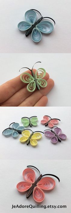 Quilled Butterflies Paper Quilling Art Confetti Scatter Ornament Gift Filler Easter Mothers Day Baby Bridal Shower Wedding Pastel Spring