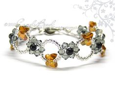 Swarovski bracelet, Copper Black Flower Butterfly Crystal Bracelet by CandyBead via Etsy