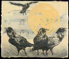 "Gay Schempp;  encaustic, ""'The Raven's Call"""