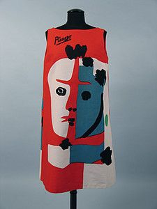 Picasso-inspired clown print dress, 1960s.