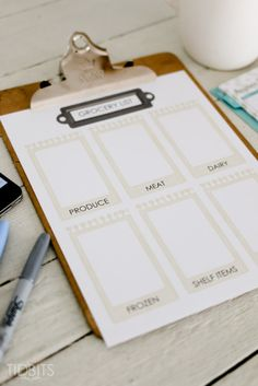 Grocery shopping list printable.  The best way to organize your shopping trips.