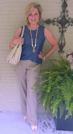 50 IS NOT OLD | DENIM AND LINEN FOR SUMMER | Tulip hem | Chambray top | Linen pants | Fashion over 40 for the everyday woman