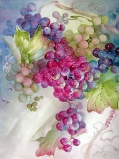 Multicolored grapes painted on porcelain tile by porcelain artist and teacher, Gerry Burchill of New York's Adirondack region