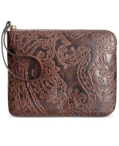 Patricia Nash Burnished Tooled Lace Cassini Wristlet  - Brown