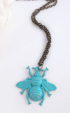 Summer Bumble Bee Necklace. Hand Painted Patina Turquoise Verdigris Bee Pendant Necklace