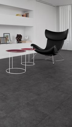 Dark Slate - Donkere pvc tegel in leisteenlook Pvc Flooring, Home Stuck, Egg Chair, Cozy House, Slate, Interior And Exterior, Living Room Decor, New Homes, Dark