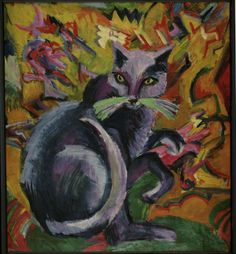 Grauer Kater auf Kissen - Gray cat on a cushion |  oil painting, 1919-1920 | Ernst Ludwig Kirchner