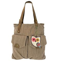 Chala Bird's Collection Large Canvas handbags with Front Pockets & Bag Charm (907-Light Brown)