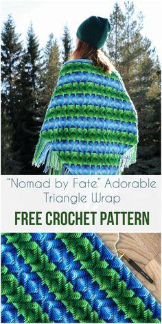 Nomad by Fate Adorable Triangle Wrap Free Crochet Pattern #freecrochetpatterns #crochet #wraps #apachetears #fashion #style #craft #crochetlove
