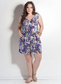 Macaquinho com Bolsos (Floral Mix) Plus Size