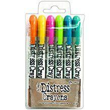 Ranger Tim Holtz Distress Crayon Set#1 - pack de lápices de colores, multicolor