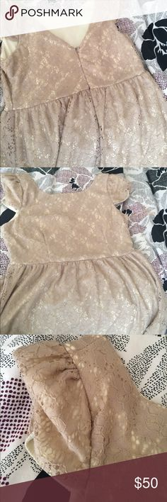 Romeo and Juliet baby doll dress Nude and light pink lace Romeo & Juliet Couture Dresses Mini