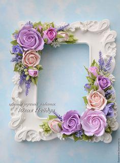Купить Фоторамка с розами из полимерной глины - цветы ручной работы, подарок на день рождения